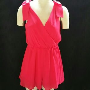 GB Giannini Bini Pink Bow Shoulder Romper